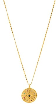 Sequin Multicolor Crystal Compass Talisman Necklace, 16.5