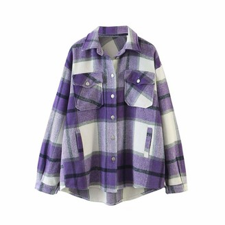 Springcmy Women Shacket Plaid Button Down Jacket Casual Long Sleeve Loose Lapel Outwear Shirts Coat Blouse with Pocket (A Purple L)