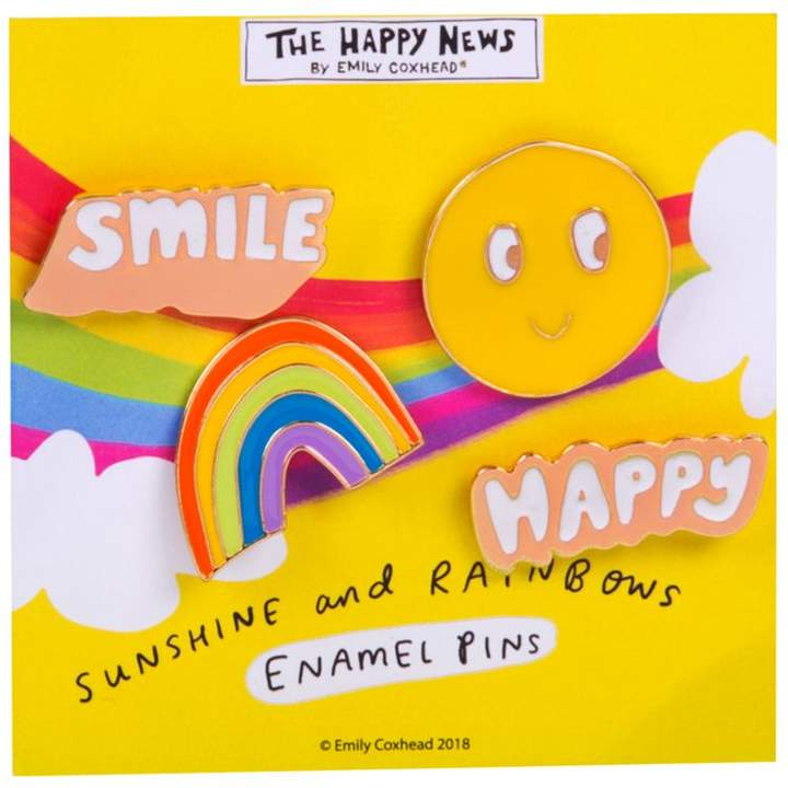 widdop & co The Happy News Enamel Pin Badges set of 4 - Smile