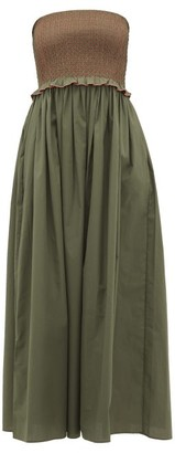 Loretta Caponi - Luisa Bandeau Smocked Cotton Dress - Womens - Khaki Multi