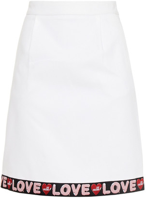 Love Moschino Monogram-trimmed Cotton-blend Pique Mini Skirt