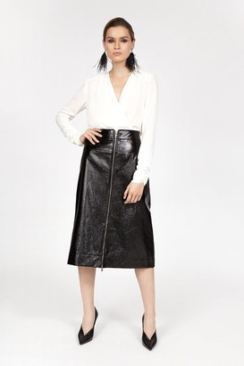Coast Crinkle Zip Front Skirt