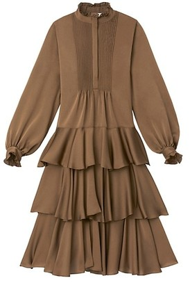 Lafayette 148 New York Raines Ruffled High-Neck Tiered Dress