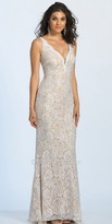Dave and Johnny Rhinestone Embellished Fitted Lace Evening Dress
