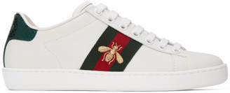 Gucci White Embroidered Bee Ace Sneakers