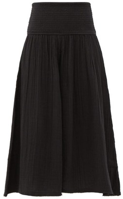 Anaak Anneka Shirred-waist Cotton-gauze Culottes - Black