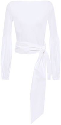 Mother of Pearl Etha Knotted Poplin-paneled Organic Stretch-cotton Jersey Top