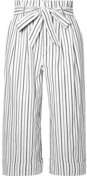 Alice + Olivia Alice Olivia - Ryan Striped Stretch-cotton Culottes - White