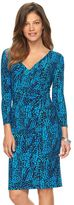 Chaps Women's Printed Surplice Sheath Dress