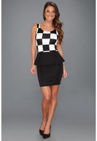 Type Z Ana Checker Print Peplum Dress (Black/White) - Apparel