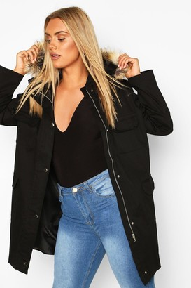 boohoo Plus Pocket Detail Faux Fur Trim Hooded Parka