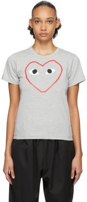 Comme des Garcons Grey Outline Heart T-Shirt