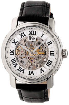Reign Men's Watches Silver - Stainless Steel Kahn Leather-Strap Automatic Skeleton Watch