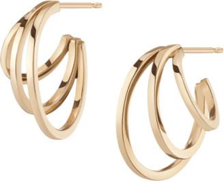 AUrate New York Deco Triple Gold Hoop Earrings