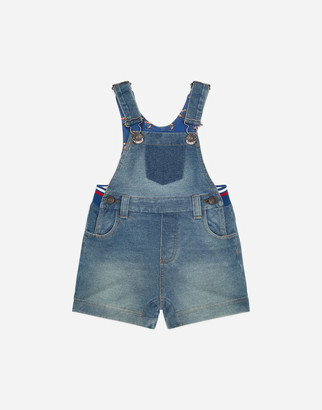 Dolce & Gabbana Washed Light Blue Dungarees In Denim Jersey