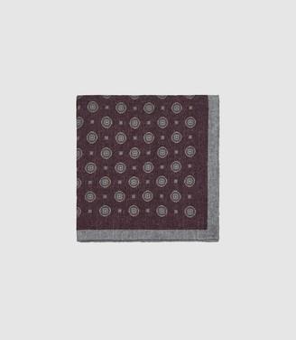 Reiss Mountain - Wool Medallion Pocket Square in Bordeaux