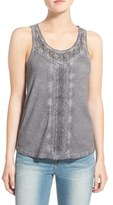 Hinge Women's Lace & Rib Knit Tank