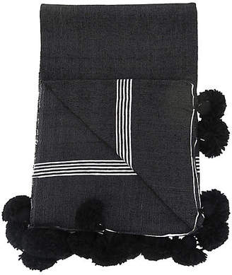 One Kings Lane Vintage Black & White Pinstripe Pom Blanket - Habibi Imports