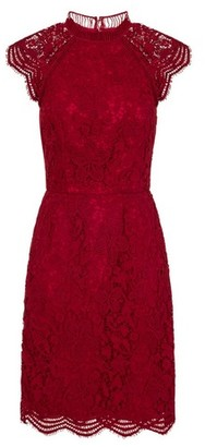 Dorothy Perkins Womens *Chi Chi London Berry Red Floral Crochet Design Bodycon Dress, Red