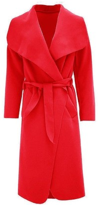 M&M Women Italian Long Duster Jacket Ladies French Belted Trench Waterfall Coat 8-14 (UK 16