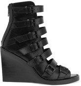 Ann Demeulemeester Buckled Leather Wedge Sandals - Black