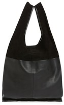 Topshop Slouchy Suede & Leather Tote - Black