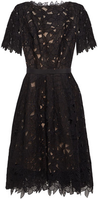 Oscar de la Renta Belted Guipure Lace And Mesh Dress