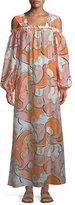 Emilio Pucci Natsri-Baby Printed Off-the-Shoulder Cotton-Silk Maxi Dress