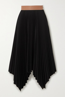 Loewe Leather-trimmed Asymmetric Pleated Crepe Midi Skirt - Black