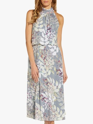 Adrianna Papell Watercolour Halterneck Dress, Dusty Blue