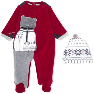 Lapin House Bear-Appliqued Pajamas