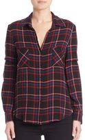 L'Agence Denise Plaid Button-Front Blouse
