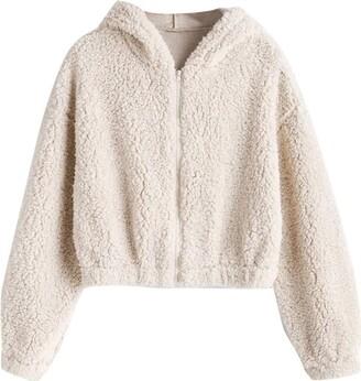 Hxzh Women Fluffy Fleece Hoodies Crop Tops Teddy Bear Plain Hooded Drawstring Pullover with Zip Casual Loose Drop Shoulder Long Sleeve Sweatshirt Jumper Coat Jacket Outerwear (Beige M)
