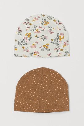 H&M 2-pack Jersey Hats - Beige