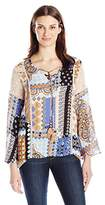 Democracy Women's Bell Sleeve Lace up Front East West Hem Top