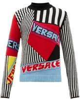 Versace Logo-jacquard Wool Sweater - Mens - Multi