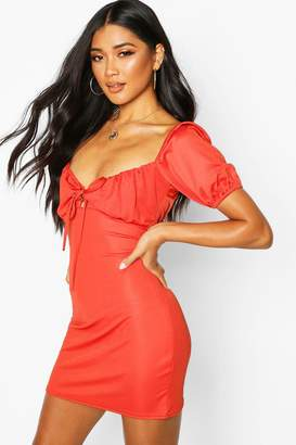 boohoo Lace Up Peasant Puff Sleeve Bodycon Dress
