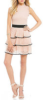 Jodi Kristopher Ruffle-Tier Lace Fit-And-Flare Dress