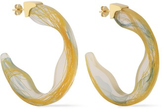 EJING ZHANG Scilla 18-karat Gold-plated Resin Hoop Earrings