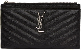 Saint Laurent Black Monogram Bill Pouch