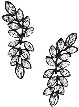 Kenneth Jay Lane Black Enamel & Crystal Leaf Drop Earrings