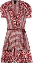 Coral Silk Ruffle Dress