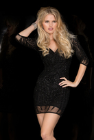 Scala 48663 Bedazzled V-neck Sheath Dress