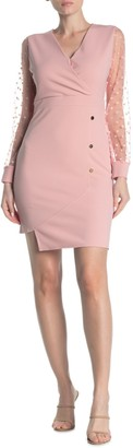 Gracia Polka Dot Mesh Sleeve Dress (Regular & Plus Size)