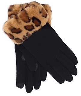 Echo Faux Fur Trimmed Touch Gloves