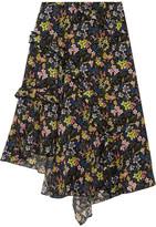 Topshop Aster Ruffled Printed Silk Crepe De Chine Skirt - Black