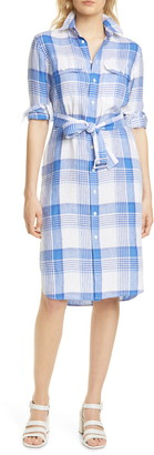 Polo Ralph Lauren Plaid Long Sleeve Belted Linen Shirtdress