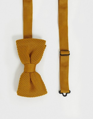 Twisted Tailor knitted bow tie in mustard