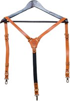 Age Leather suspenders prime, for men, 3 in 1 clips, snap hooks and buttons / gift box / real leather
