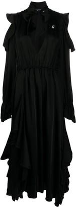 Off-White Cold-Shoulder Ruffled Dress